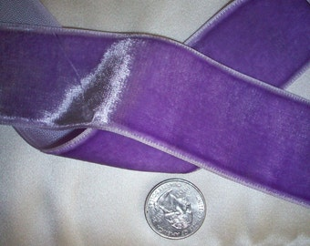 """Vintage Lilac Pansy Velvet Ribbon 1 1/2"""" wide Yardage Available Old Store Stock"""