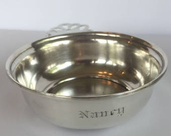 Sterling Porringer bowl with NANCY monogram, Metasco Mexico