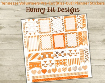 Erin Condren Planner Tennessee Volunteers Football Precut Kisscut Peel and Stick Stickers Flags Rectangle Boxes Labels Orange