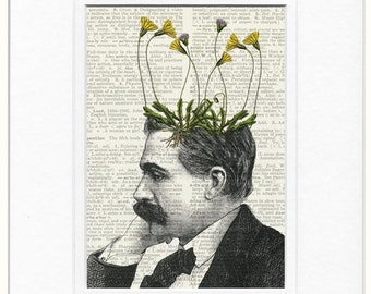 pothead, dandelion weed potted plant print
