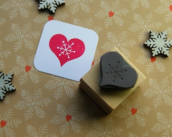 Christmas Stamp - Snowflake Heart Rubber Stamper - Stocking Stuffer Filler - Christmas Gift - Card Making - Scrapbooking - Winter Wedding