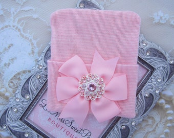 Pink Newborn Hospital Hat with a pink & silver rhinestone button, been, beanie cap, take home outfit, bebe, from Lil Miss Sweet Pea Boutique