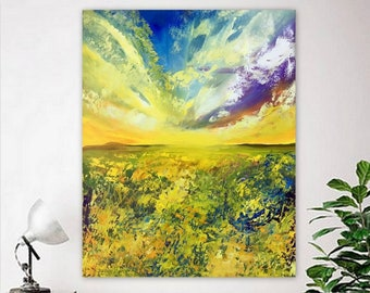 Colorful Landscape Painting ,Oil painting original landscape, Nature ,Canvas artwork, Wall art by Tetiana