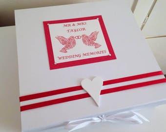 Handmade Personalised Mr & Mrs Wedding Day Keepsake Memory Box