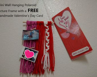 Valentines Day Gift For Him / Her Handmade Mini Wall Hanging Picture Frame with a FREE Handmade Valentine's Day Card  includes clothing pins