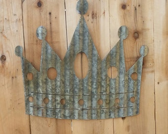 FREE SHIPPING Up-cycled old Corrugated Metal Crown Wall Hanging Sign