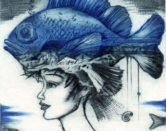 Sea Princess I, intaglio print, dry point, portrait, fish, fantasy art, handprinted, limited edition, original art