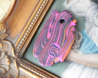 Pendant with pink and blue polymer clay, pendant, 5.5 cm x 3.5 cm, pendant, polymer clay, 550