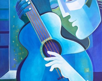 Abstract Oil Painting Original Modern artwork Blue Guitar Player Marlina Vera Fine Art contemporary musical Picasso Style jazz blues music