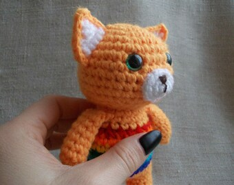 Rainbow Baby Crochet Rattle Crochet Fox New Baby Gift Baby Shower Gift Baby Rattles Crochet toy Rainbow Fox  Rainbow Animals Foxes Eco Toys