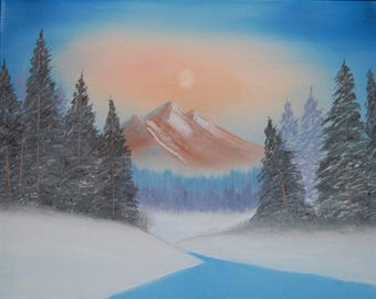 """Original Oil Painting """"SUNSET MOUNTAIN"""" Canvas 20"""" x 16"""" Free Shipping!! (Landscape Art)"""