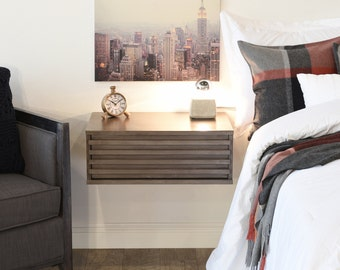 Modern Hanging Floating Wall Mount Nightstand Drawer - Lotus - Driftwood Gray
