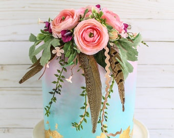 Boho Floral and Feather Topper- Cake topper, prop cake, party decor