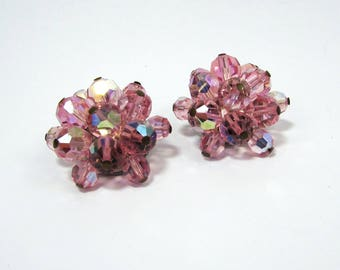 "Pink Glass Cluster Clip Earrings -  aurora borealis finish - 1"" - 1950s-60s - free US shg"