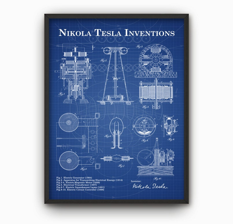 Tesla inventions wall art poster nikola tesla patent wall zoom malvernweather Choice Image