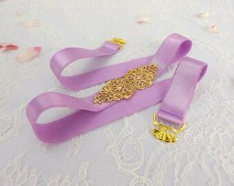 Lilac Purple Elastic Waist Belt. Gold vintage style buckle. Purple Bridal/ Bridesmaid Elastic Belt. Wedding Sash Belt.