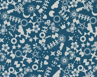 Cotton + Steel Cut It Out Teal, Papercuts Fabric