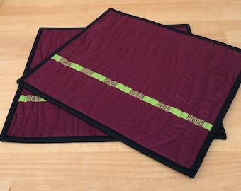 Pair of Place Mats, Pair of Table Mats, Two Place Mats, Two Table Mats, Quilted Place Mats, Burgundy Place Mats, Burgundy Table Mats, Mats