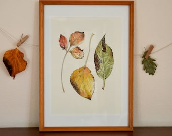 Three Autumn Leaves - Original artwork. Inktober illustration, watercolour and ink drawing.