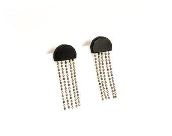 MEDUSA Earrings, Matte Black Resin Earrings,Boho Chic,Statement Earrings,Stainless surgical steel earrings,Wife Mother Her Girlfriend Gift