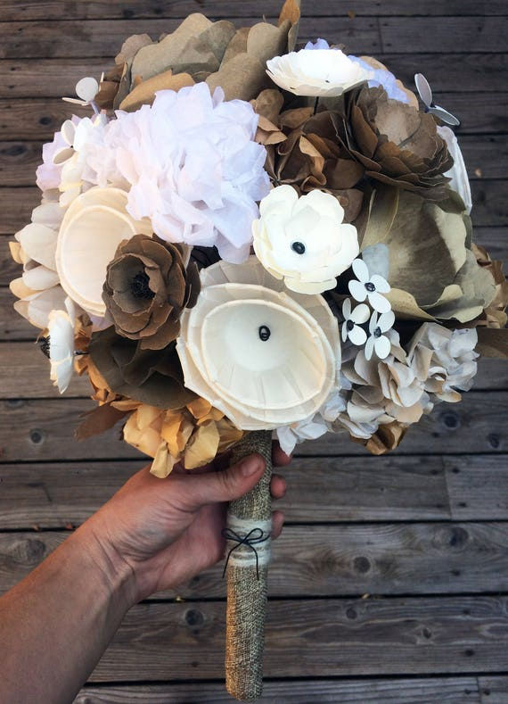 Rustic paper flower bouquet bridal bouquet recycled like this item mightylinksfo Choice Image