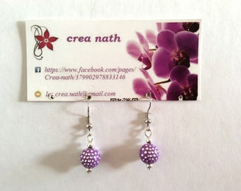 Purple rhinestone earring