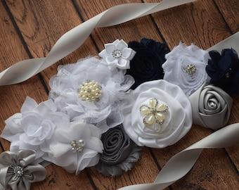Flower Sash, navy grey white Sash, flower Belt, maternity sash, wedding sash, maternity sash girl, flower girl sash, gray sash