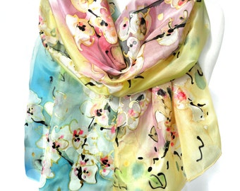 Hand Painted Rainbow Silk Scarf. Anniversary Birthday Gift for Her. Silk Painting Genuine Art. Wedding Bridal Gift. 18x71in MADE to ORDER