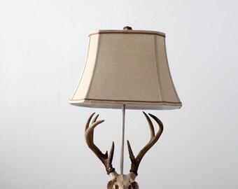 vintage deer skull lamp,  antler table lamp