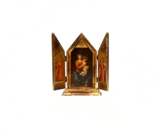 Antique French Triptych Icon Altar Madonna & Child Orthodox Garoutte Marseille Gold leaf original Gallery Label