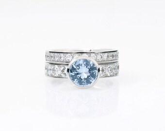 engagement ring set, Aquamarine, White Sapphire, engagement ring, wedding band, Sapphire wedding, aquamarine engagement, ring set, blue