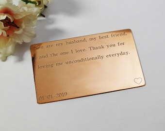 Wallet Insert Card Engraved Copper Personalised Mens Gift Gift for Husband Seven Year Anniversary gift for him Copper Anniversary Card