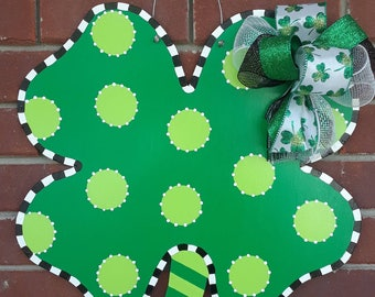 St. Patrick's Day Four Leaf Clover Shamrock Door Hanger