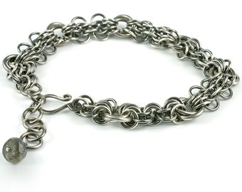 guadeloupe - oxidised sterling silver bracelet with labradorite accent