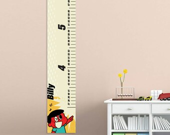 Retro Cartoon Personalized Children's Growth Chart for Boys - Canvas Personalized Growth Chart - Gifts for Kids - GC925 Retro Boy