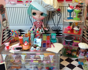 Dollhouse Barbie Blythe Playscale Barbie 1/6 Bistro Bakery ROCK CANDY with Ice Cream Case
