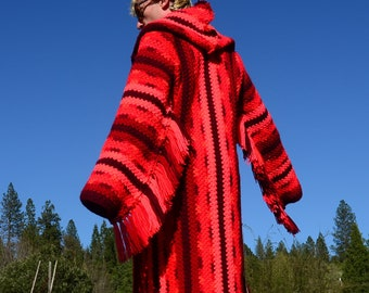 Crochet Sweater Robe Bright Red Stripes and Fringe