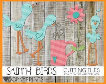 Skinny Birds Cuttable Files -For Use with Cutting Machines - svg, mtc, pdf, gsd, and wpc files, Birds SVG