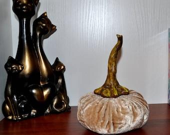 VELVET PUMPKIN - Beige velvet pumpkin - velvet Pumpkins -Plush Pumpkins - Silk velvet pumpkins - Thanksgiving Decor Autumn Decor Home Decor