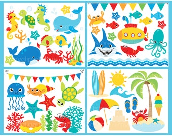 Clipart Bundle - Under the Sea, Ocean, Beach, Fish, Sea Shells, Dolphin, Shark Commercial Use, Vector clip art, SVG Cut Files