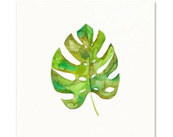 Monstera Leaf Art Print. Watercolor Monstera Botanical Painting. Kitchen Wall Art. Bathroom Art Print. Tropical Leaf Wall Art. Nursery Art.