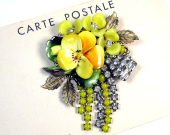 Vintage Collage Brooch Yellow ceramic rose upcycled