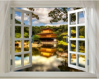 Window To The Golden Pavilion Kyoto Japan Scenic Poster 24x36 Natural Beauty