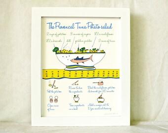 Art for Kitchen 'Provencal tuna Potato salad' (Illustrated Recipe) 8x10 Food Illustration