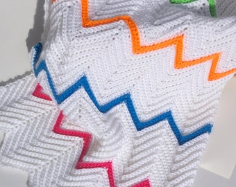 Baby Blanket, Baby Afghan Hand Crocheted in White, Blue, Green, Pink, Orange