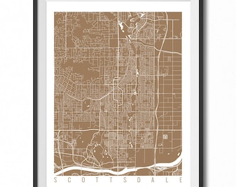 SCOTTSDALE Map Art Print / Arizona Poster / Scottsdale Wall Art Decor / Choose Size and Color