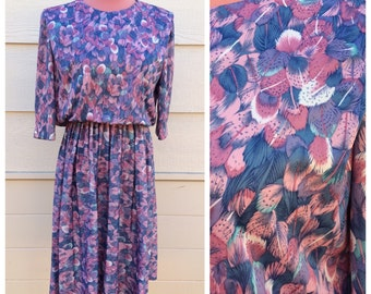 Pink and purple feather pattern print 70s day dress size medium / large