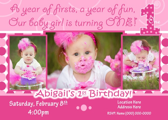 Everything one birthday party 1st birthday girl invitation 1st like this item stopboris Image collections