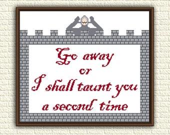 Monty Python - Cross Stitch Pattern pdf - Monty Python and the Holy Grail - Go Away - subversive funny pattern - geeky x stitch - KbK-061