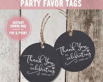 Bridal Shower Favor Tags Printable, Chalkboard Thank You Tags, Party Favor Tags, Bridal Thank You Tags, Wedding Favor Tags, Instant Download